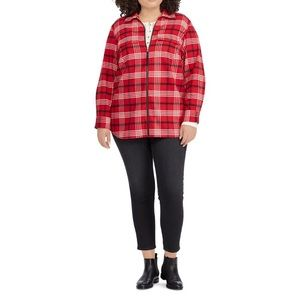 Chaps Plus Size Plaid Flannel Jacket, New, 1X
